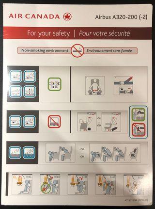 SAFETY CARD - Air Canada Airbus A320-200