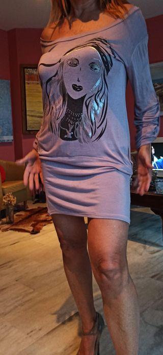 Vestido malva de algodón