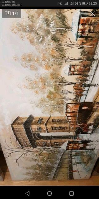 Pintura a oleo d Paris antiguo