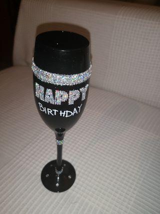 copa cristal cumpleaños