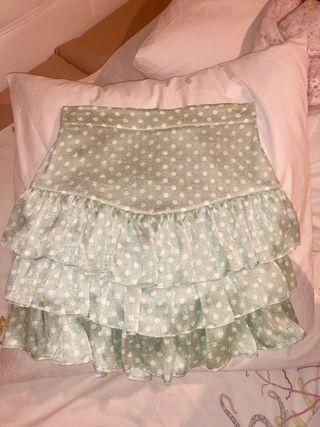 Falda lunares zara verde talla s