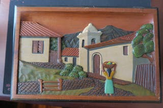 Cuadro artesanal de madera tallada de Honduras.