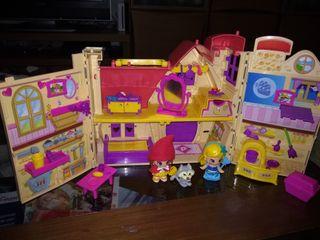 pinypon casa de los cuentos y dos muñecas