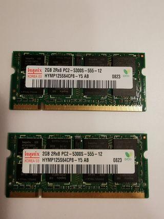 2 módulos x 2gb SO-DIMM DDR2