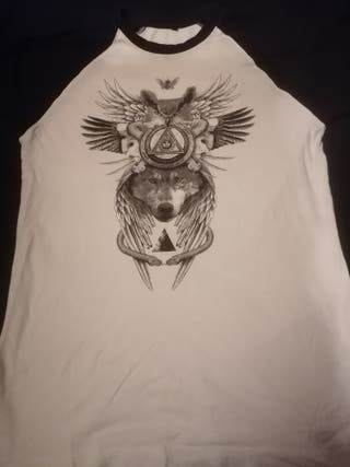 Camiseta Béisbol de tatuaje lobo