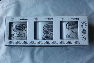 Tres tazas con viñetas de Forges.