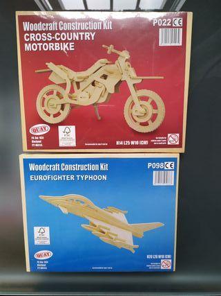 Pack Moto y Avión caza para construir de madera