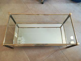mesas TV y baja salón, cromadas vidrio y espejo