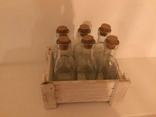6 botellas de cristal decoracion