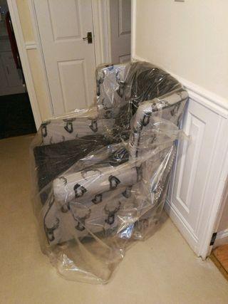 2 x Wing Chair Fireside High Back Armchair Antler