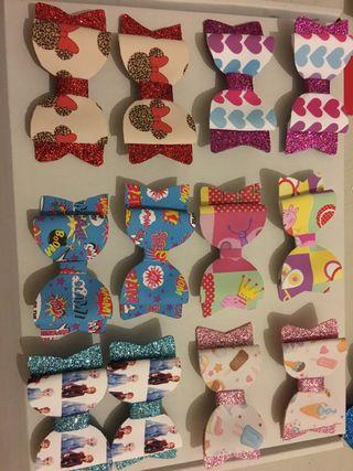 Box of handmade bow clips