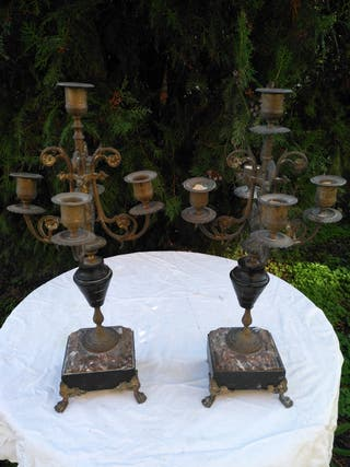 Candelabros de bronce 4 brazos