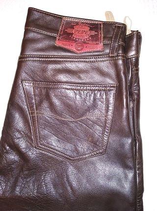 pantalones cuero marrones 30/40