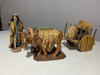 Belén Artesanal Carro/pastor Arcilla y tela. 14 cm