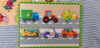 2 Puzzles de madera. Puzzles de vehículos y frutas