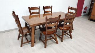 Mesa Rustica Salon de Roble con sillas