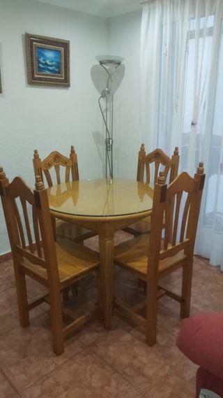 mesa+sillas madera maciza