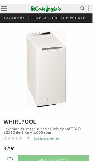 6KG LAVADORA WHIRLPOOL TDLR60210 A++