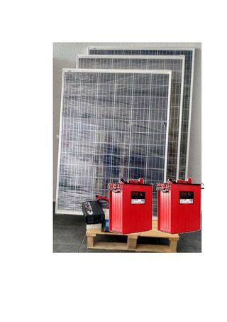 Kit solar 2000w/dia-3placas 200w 2baterias 293Ah