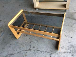 Mesa auxiliar madera con cristal
