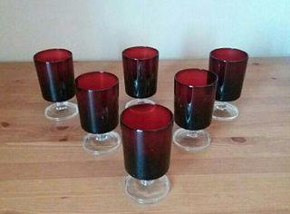 Lote copas de cristal rojas