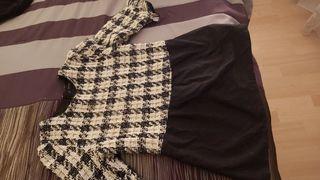 Cuerpo tejido tipo chanel combinado con tela.