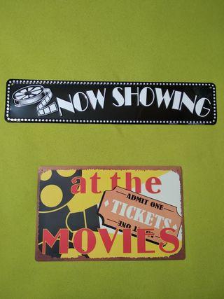 Carteles metálicos temática de cine (lote de 2)