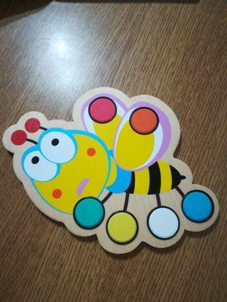 acuarelas abeja madera