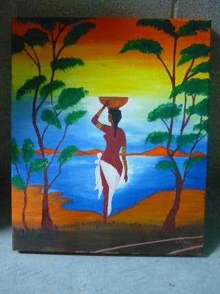 Cuadro pintura arte africano óleo acrílico