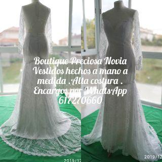 Vestido de novia manga larga a medida Alta costura