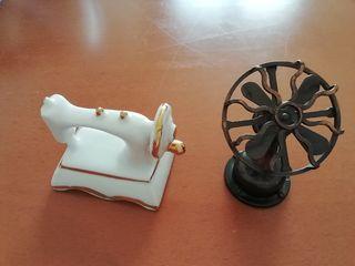 Maquina coser ceramica y ventilador de hierro.