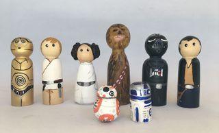 Conjunto de figuras Star Wars de madera