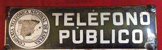 Antigua placa esmaltada CTNE, Teléfono Público.