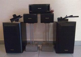 5 altavoces technics surround + soportes