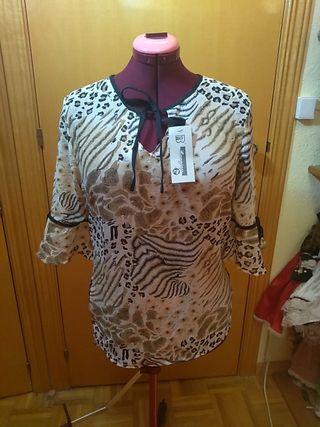 Blusa de media manga de mujer leopardo animal prin
