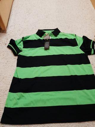 Polo a rayas negras y verdes talla M HOMBRE