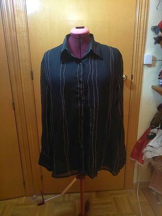 Camisa negra de manga larga de mujer con rayas t50
