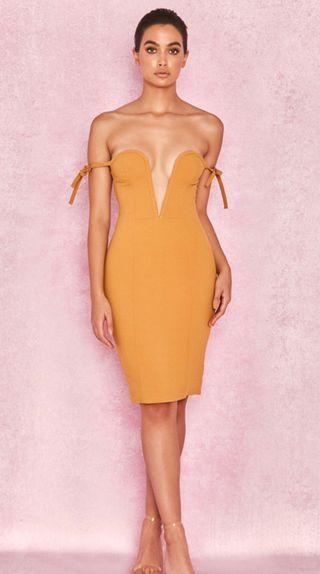 House of CB Lavinia Mustard Off Shoulder Dress
