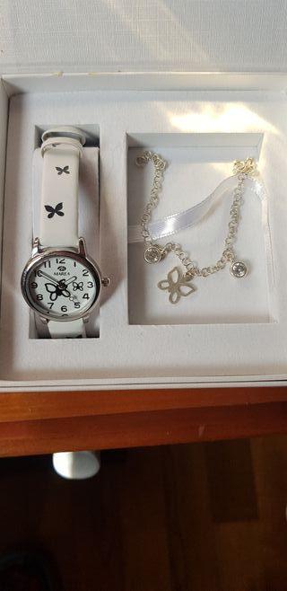 conjunto reloj y pulsera plata