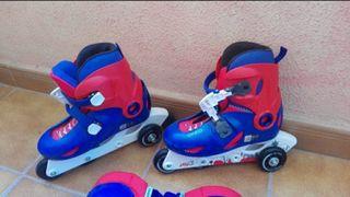 patines línea o tres ruedas