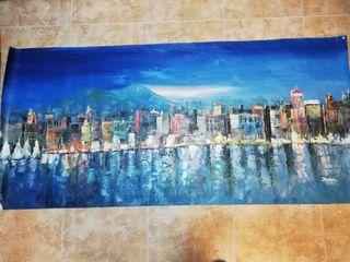 Cuadro grande cityscapes, formato 170/75 al oleo
