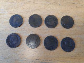 Monedas de 5 céntimos de 1877, 1878 y 1879