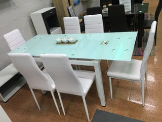Mesa extensible 6 sillas Blanco [DT58]