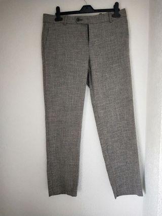 pantalón de vestir Zara talla 40 gris nuevo pinzas