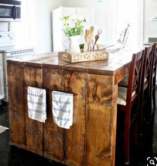 Mesa alta isla cocina barra madera rustico