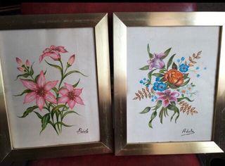 2 cuadros seda pintados