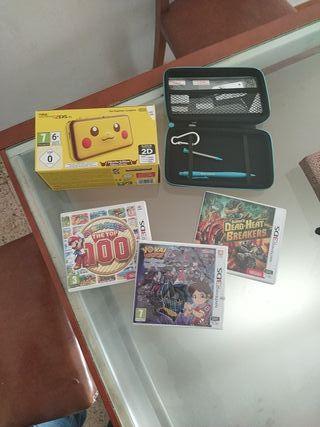 New Nintendo 2ds xl,funda y accesorios y 3 juegos