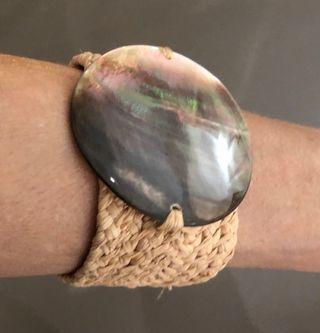 Bracelet manchette polynésien Pandanus et nacre