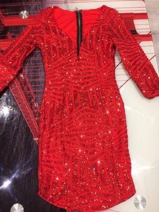 Vestido fiesta rojo lentejuelas