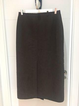 Falda larga - midi marrón